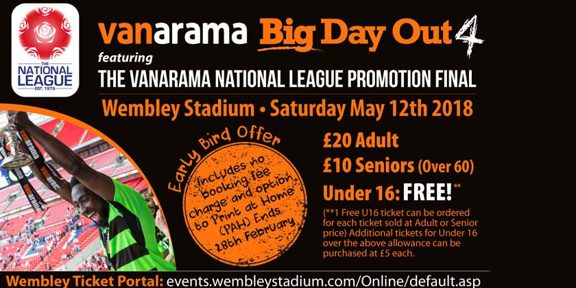 Earlybird offer for Wembley final tickets